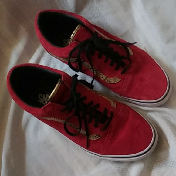 Vans Other - Vans Shoes Red Suede Snakeskin Mens 9.5 Womens 11